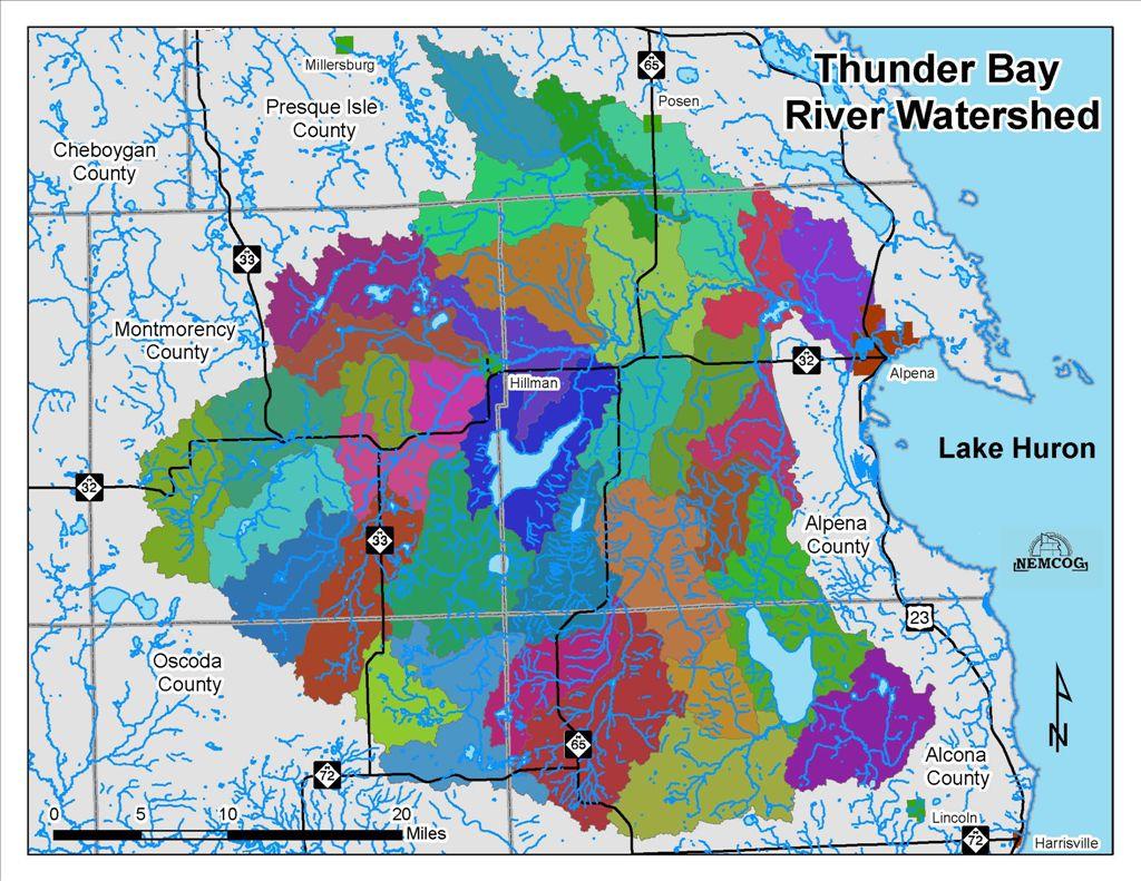 Thunder Bay Michigan Map.Blueprint For Watershed Collaboration Thunder Bay River Watershed
